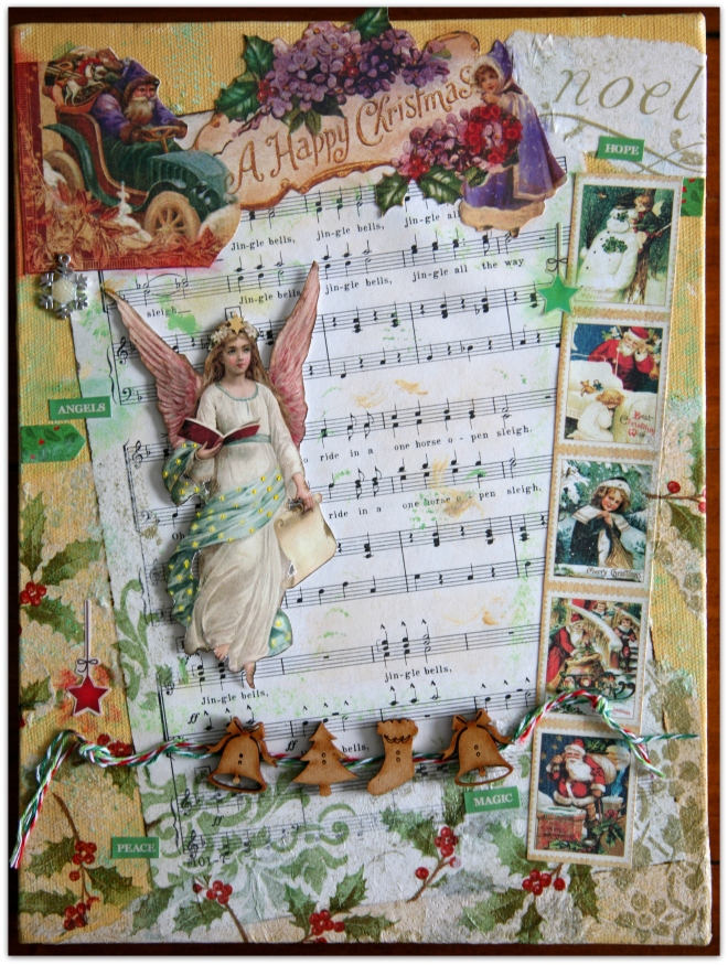 Mixed media Christmas Collage