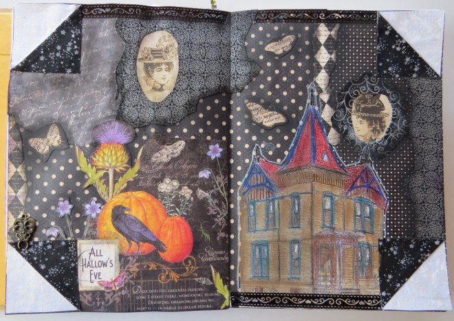 Halloween mixed-media art journal page