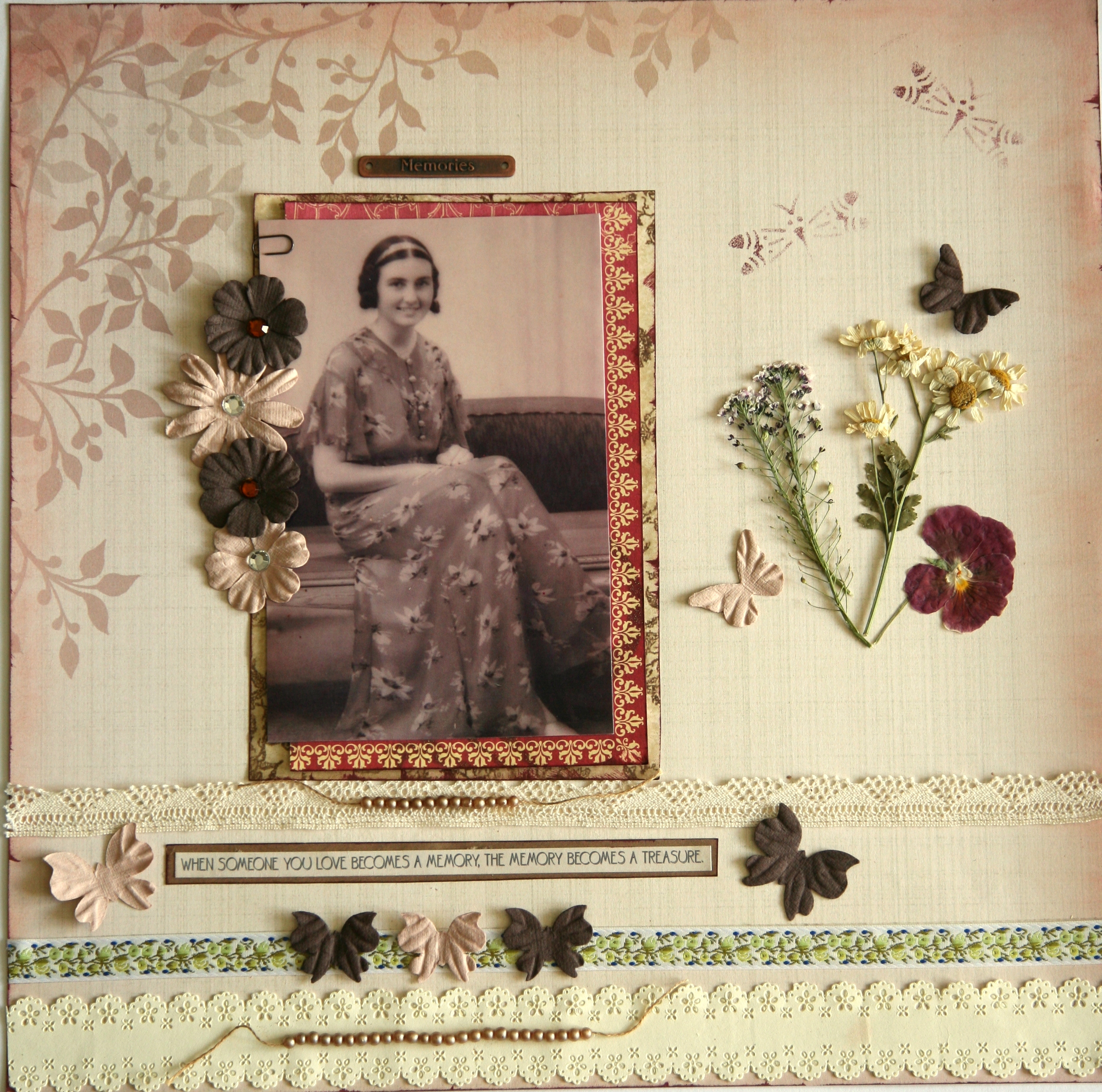 How to scrapbook pressed flowers - For This Scrapbook Page I Used Ribbon Lace Paper Flowers And Butterflies And Beads From A Broken Vintage Necklace To Honour My Grandmother S Love Of
