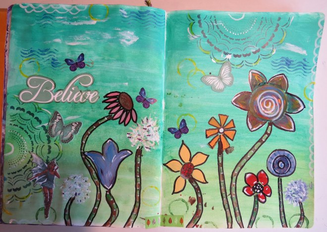 Believe art journal page